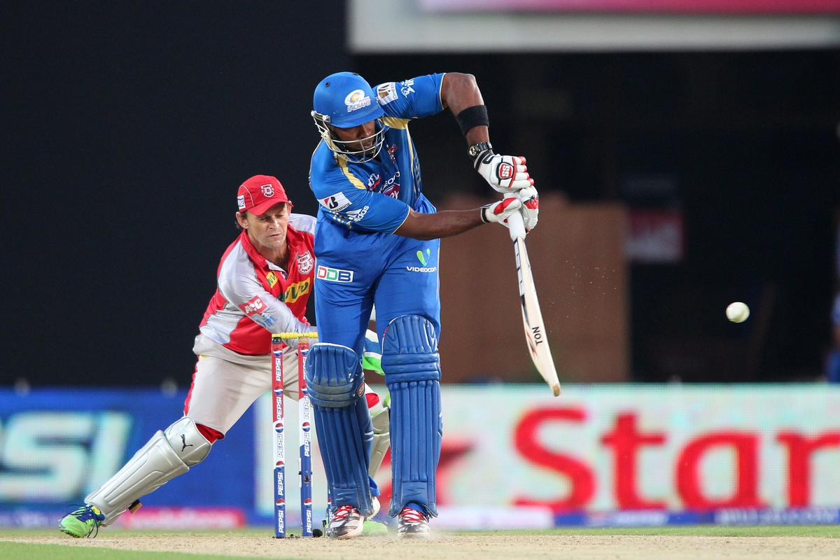 Kieron Pollard during match 69 of the Pepsi Indian Premier League between The Kings XI Punjab and the Mumbai Indians held at the HPCA Stadium in Dharamsala, Himachal Pradesh, India on the on the 18th May 2013.  (BCCI)