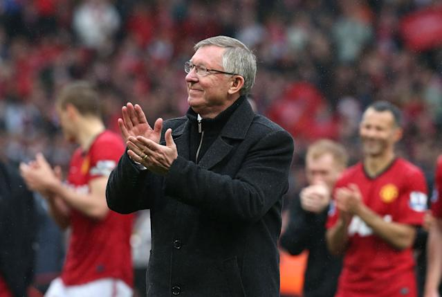 MANCHESTER, ENGLAND - MAY 12: Manager Sir Alex Ferguson of Manchester United applauds the crowd after the Barclays Premier League match between Manchester United and Swansea City at Old Trafford on May 12, 2013 in Manchester, England. (Photo by Matthew Peters/Man Utd via Getty Images)