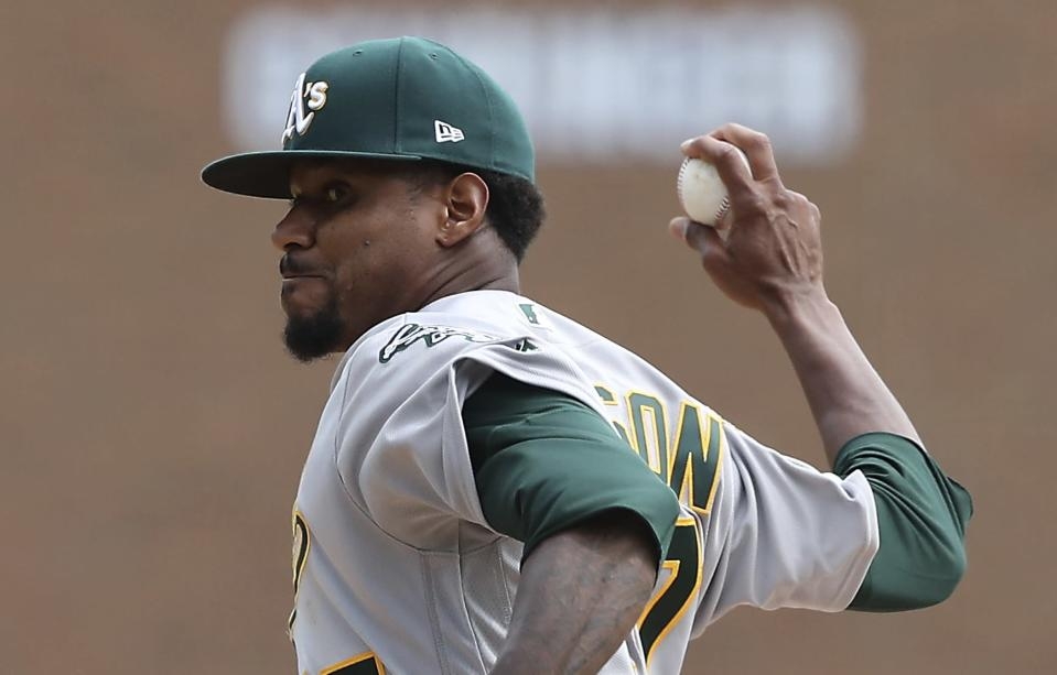 Edwin Jackson tied a record by making a start for the Athletics on Monday. (AP Photo)
