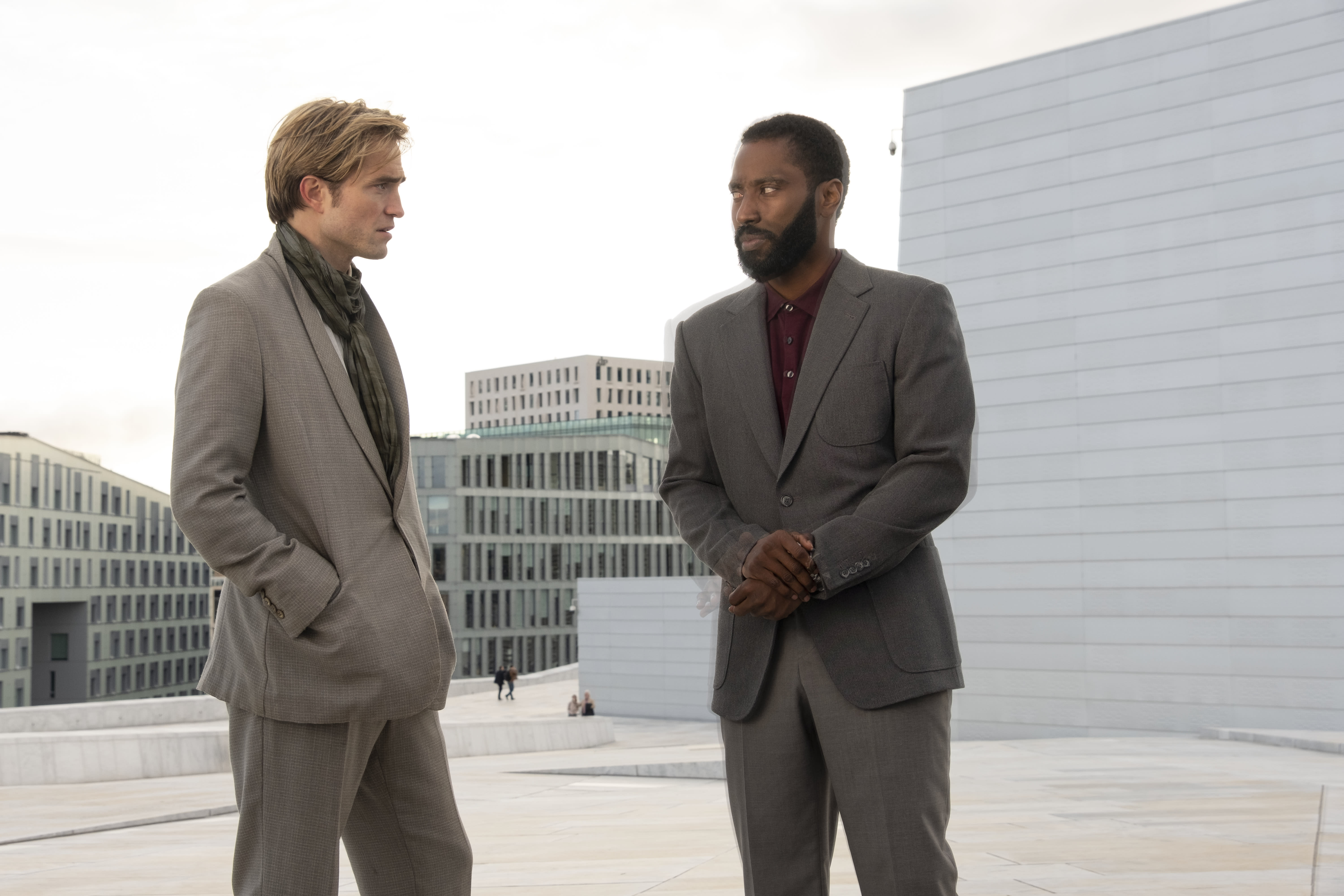 Robert Pattinson and John David Washington in a still from Tenet. (©2020 Warner Bros. Entertainment, Inc. All Rights Reserved.)