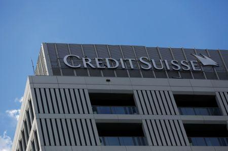 Credit Suisse logo is pictured on their office in Warsaw