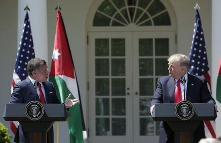 U.S. President Donald Trump (R) and Jordan's King Abdullah II hold a joint news conference in the Rose Garden at the White House in Washington, U.S., April 5, 2017. REUTERS/Yuri Gripas