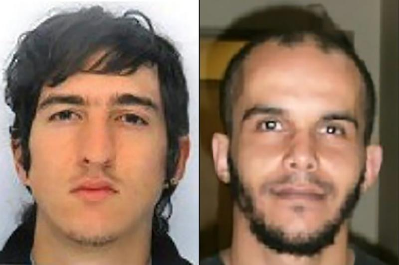 Clement Baur (L) and Mahiedine Merabet, arrested in Marseille, southern France, on April 18, 2017, on suspicion of preparing an attack just days ahead of the first round of France's presidential vote