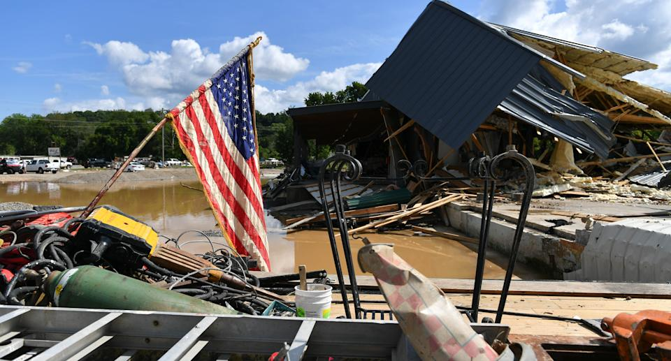 A view of the damage after heavy rain and devastating floods in Waverly, Tennessee, United States on August 22, 2021. Source: Getty Images