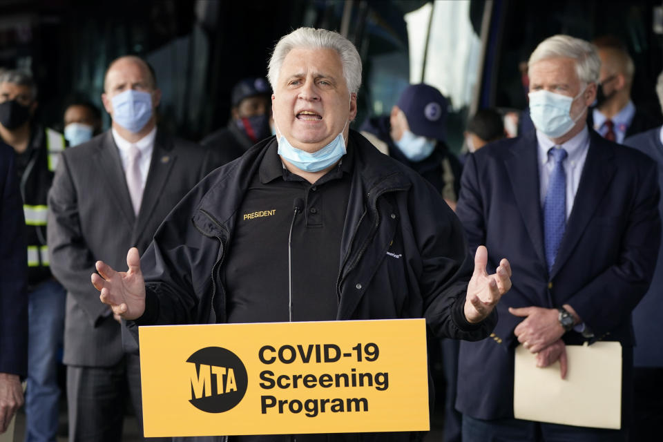 Tony Utano, TWU Local 100 President, speaks during a news conference to announce MTA plans for the Covid testing of its workers Tuesday, Oct. 27, 2020, at the Grand Avenue Bus Depot in New York. (AP Photo/Frank Franklin II)