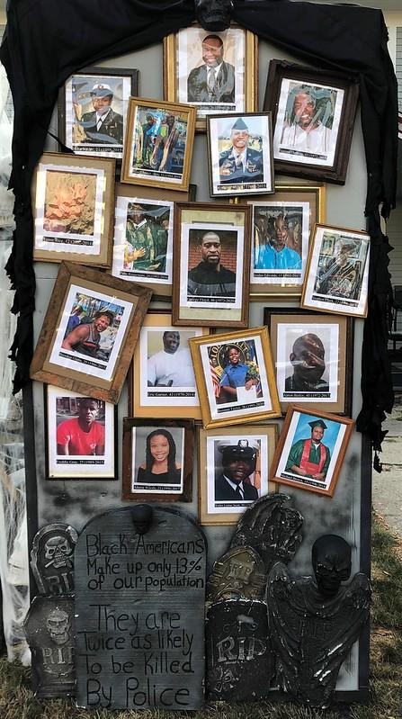 The display includes portraits of Breonna Taylor, George Floyd, Michael Brown and other Black Americans killed by police officers. (Photo: Matt Warshauer)