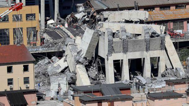PHOTO: Rubble of the collapsed section of the Morandi bridge the day after the accident Genoa, Italy, Aug, 15, 2018. (Valery Hache/AFP/Getty Images)