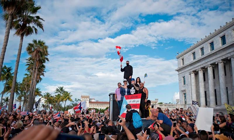 Protesters demand Ricardo Rosselló's resignation during a fifth day of demonstrations in Puerto Rico on Wednesday.