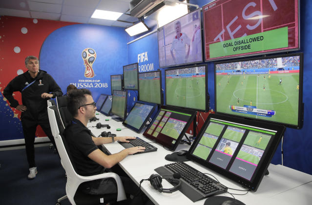 A video operation room (VOR) for the 2018 World Cup in Russia (AP Photo/Dmitri Lovetsky)