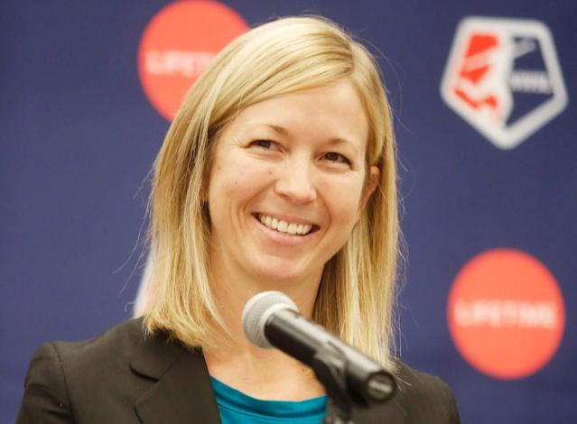 Current NWSL president Amanda Duffy is a candidate for the league's vacant commissioner position. (Photo by Thos Robinson/Getty Images for Lifetime)