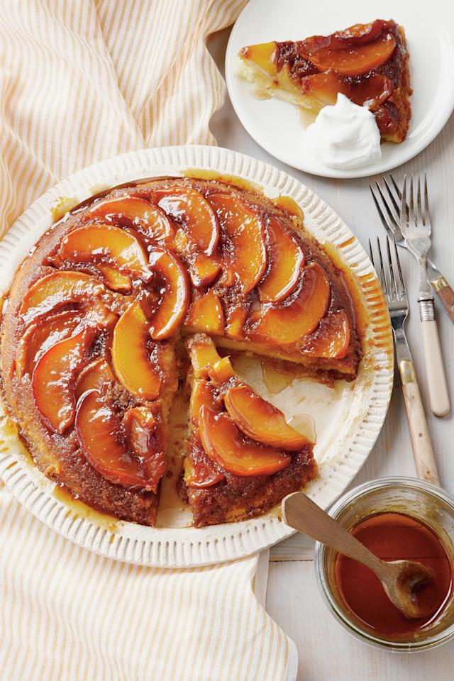 """<p><strong>Recipe: <a href=""""http://www.myrecipes.com/recipe/peach-upside-down-cake"""" target=""""_blank"""">Peach Upside-Down Cake</a></strong></p> <p>If you are a fan of peach cobbler, you will love this Peach Upside-Down Cake. Be sure to use cake flour and NOT self-rising flour, as that flour already has the leavening ingredients mixed in.</p>"""