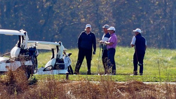 PHOTO: President Donald Trump participates in a round of golf at the Trump National Golf Course, Nov. 7, 2020, in Sterling, Va. (Patrick Semansky/AP)