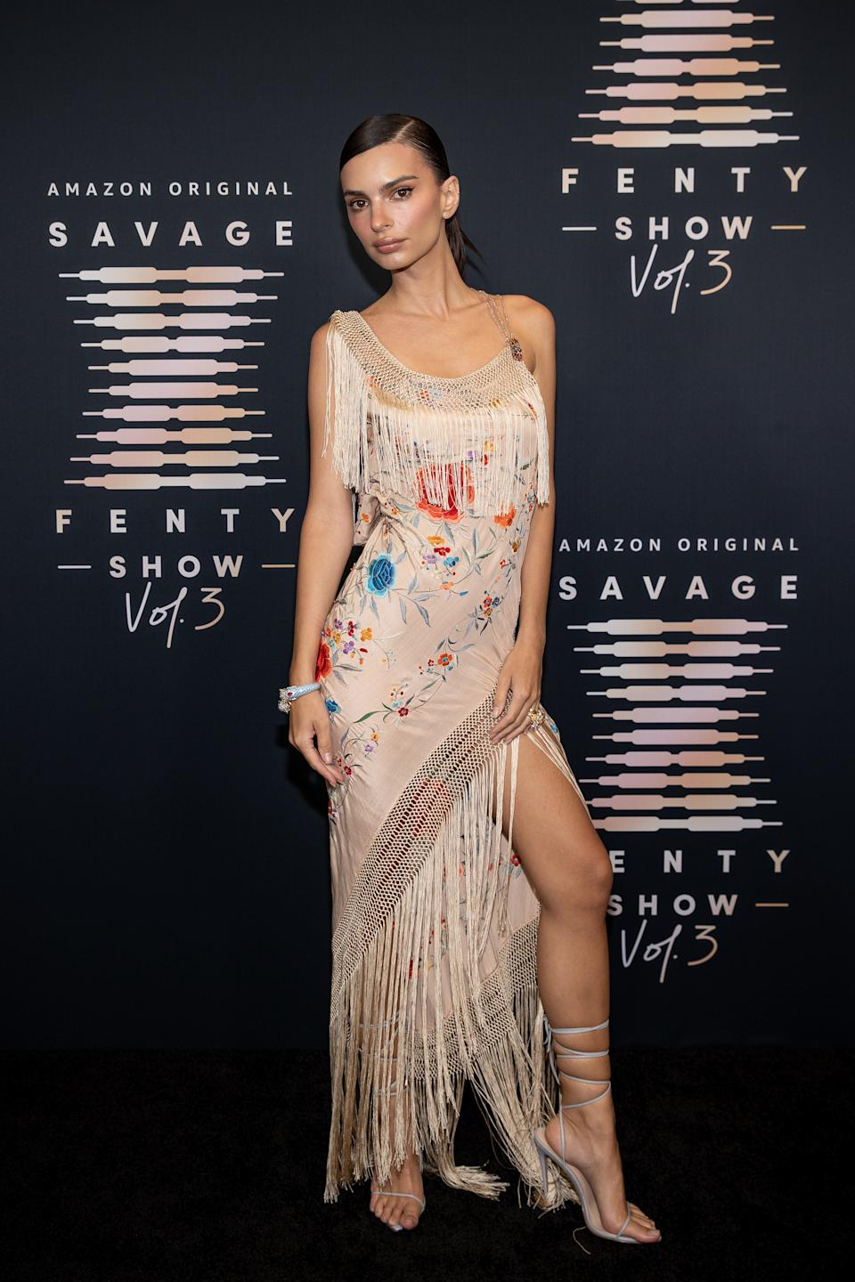 LOS ANGELES, CALIFORNIA - SEPTEMBER 22: In this image released on September 22, Emily Ratajkowski attends Rihanna's Savage X Fenty Show Vol. 3 presented by Amazon Prime Video at The Westin Bonaventure Hotel & Suites in Los Angeles, California; and broadcast on September 24, 2021. (Photo by Emma McIntyre/Getty Images for Rihanna's Savage X Fenty Show Vol. 3 Presented by Amazon Prime Video)