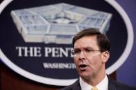 FILE PHOTO: U.S. Defense Secretary Mark Esper and Britain's Secretary of State of Defence Ben Wallace joint news confernce