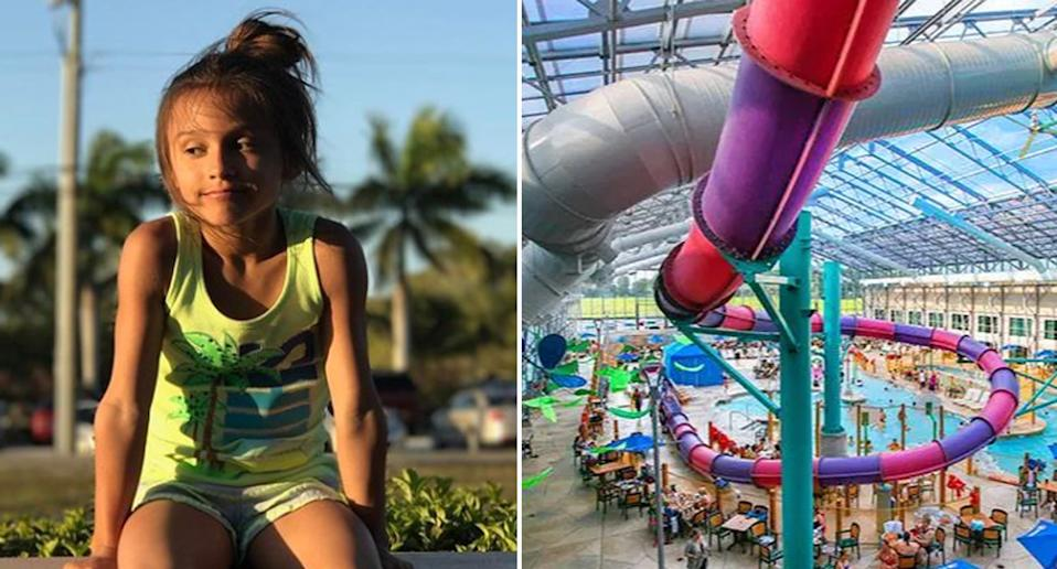 London Eisenbeis (left) who died while sliding down the waterslide at Zehnder's Splash Village (right)