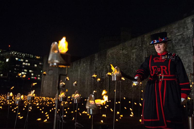 The flames were lit by Beefeaters and volunteers with a connection to WWI (Sgt Paul Randall RLC)