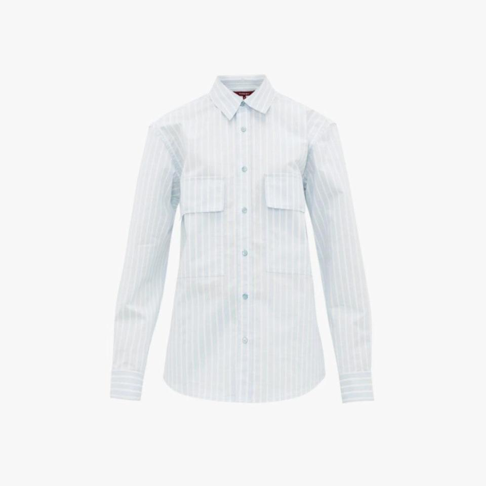 """In June, we learned that we have to say goodbye to luxury ready-to-wear label Sies Marjan. Some of their best pieces and soon-to-be collector's items, like this button up, are now on sale. $795, MATCHESFASHION.COM. <a href=""""https://www.matchesfashion.com/us/products/Sies-Marjan-Torres-striped-cotton-blend-shirt-1363650"""" rel=""""nofollow noopener"""" target=""""_blank"""" data-ylk=""""slk:Get it now!"""" class=""""link rapid-noclick-resp"""">Get it now!</a>"""