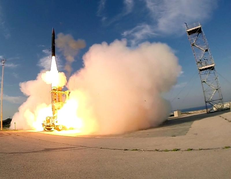 The launch of an Israeli Arrow 3 missile, at an undisclosed location in southern Tel Aviv on December 10, 2015