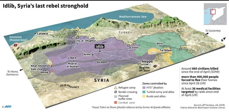 3D map of Idlib province, showing control of territory by fighting forces and developments affecting civilians (AFP Photo/Sophie RAMIS)