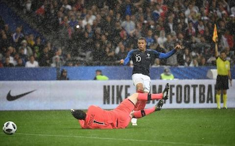 "As ever with France, it will not be a lack of talent that stops them winning the World Cup as Didier Deschamps' side brushed aside Ireland with the confidence of a team that looks good enough to triumph in Russia. Ireland were out-classed, turning up to play the fixture, but little more. The gulf in quality was as big on the pitch as it appeared embarrassing on paper. When France sent on Atletico Madrid's Antoine Griezmann as a second half substitute, Ireland turned to Shamrock Rovers' Graham Burke. It did not even resemble a fair fight. Yet, still doubts about France's ability to perform when it matters remain, the concerns about their fortitude under pressure will linger for as long as they fail to prove otherwise. The French have a tendency to lose their sparkle at major tournaments. Even when everything seems to be going their way, as it did at the European Championships two years ago, when they beat world champions Germany in the semi-final, but lost to Portugal in the final. That must change this summer, where anything less than a semi-final appearance will be a failure. Really, though, they need to win it, given the standard of players they can leave out, not just of their starting XI, but their squad. Kylian Mbappe had to battle Irish resilience and torrential rain Credit: AFP It was always going to be a tough night for Ireland, with their willing but limited mix of Premier League squad players and Championship battlers and they conceded twice just before half time. Olivier Giroud bundled the ball in from close range, from a corner, at the third attempt and Bradford City goalkeeper, Colin Doyle, failed to keep out a relatively tame shot from Liverpool transfer target Nabil Fekir. Yet, for all of France's fleet-footed attacking play, for all their skill, they still found it hard to prise the Irish defence open and they were not clinical when chances did come. World Cup 2018 | All you need to know For those countries preparing to face them at the World Cup, teams who may even be able to test them on the counter attack, the message will spread – France cannot be nullified, as such, but they can be frustrated if you defend deep and well. Better teams than Ireland will fancy their chances, particularly Denmark, who France play in the group stage, with Christian Eriksen pulling the strings. The men in blue, though, were simply too good against limited opposition here and the game was over as a meaningful contest at the end of the first half when France scored twice in the space of just five minutes. Credit: SPORTSFILE Ireland kept the score down after that and their dignity, but it was a miserable evening for a side in transition, three players, all playing outside of the Premier League, earning their first international caps as O'Neill looks ahead to the League of Nations campaign in September. ""My opinion of the French team is they are very strong, individually they have a lot of talent, they are an excellent side,"" said O'Neill. ""I think they have improved in the last two years."" Player ratings France (4-3-3) Mandanda 6, Mendy 7 (Hernandez 64) Umtiti 7 (Kimpembe 64), Rami 7, Sidibe 7 (Pavard 82), Matuidi 7, Nzonzi 7, Tolisso 7 Pogba 79), Mbappe 7 (Dembele 79), Giroud 7, Fekir 7 (Griezmann 64) Sub not used: Lloris, Areola, Kante, Lemar, Thauvin. Republic of Ireland (4-2-3-1) Doyle 5, Coleman 7, K. Long 6, Duffy 6, D. Williams 6 (Doherty 82), Browne 5 (Arter 59), Rice 6, O'Dowda 4 (Burke 70), Walters 4 (Meyler 60), S. Long 4 (Judge 70), McClean 5 Subs not used: O'Malley, Supple, Cunningham, Egan, Lenihan, Horgan, Stevens, S Williams."