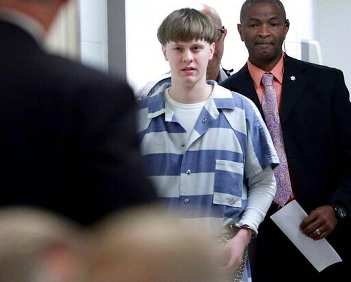FILE - In this April 10, 2017, file photo, Dylann Roof enters the court room at the Charleston County Judicial Center to enter his guilty plea on murder charges in Charleston, S.C. White supremacist Roof on Tuesday, Jan. 28, 2020, appealed his federal convictions and death sentence in the 2015 massacre of nine black church members in South Carolina, arguing that he was mentally ill when he represented himself at his capital trial.