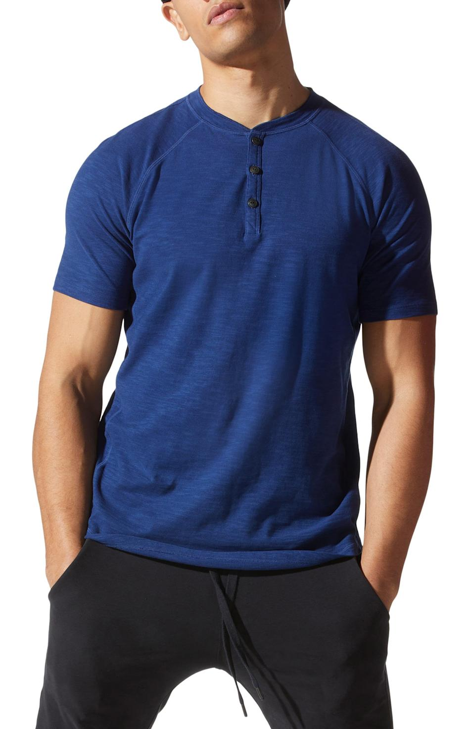 """<p><strong>Good Man Brand</strong></p><p>nordstrom.com</p><p><strong>$88.00</strong></p><p><a href=""""https://go.redirectingat.com?id=74968X1596630&url=https%3A%2F%2Fwww.nordstrom.com%2Fs%2Fgood-man-brand-legend-short-sleeve-slubbed-henley%2F5649129&sref=https%3A%2F%2Fwww.womansday.com%2Flife%2Fg964%2Fgifts-for-men%2F"""" rel=""""nofollow noopener"""" target=""""_blank"""" data-ylk=""""slk:Shop Now"""" class=""""link rapid-noclick-resp"""">Shop Now</a></p><p>You can't go wrong with a super soft henley tee, which fits like a dream and comes in blue, topaz, and watermelon color options.</p>"""