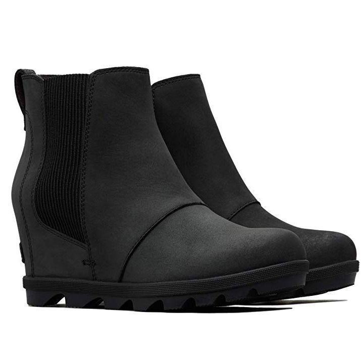 """<p><strong>Sorel</strong></p><p>amazon.com</p><p><strong>$169.95</strong></p><p><a href=""""https://www.amazon.com/dp/B078VDBGJK?tag=syn-yahoo-20&ascsubtag=%5Bartid%7C10055.g.29389536%5Bsrc%7Cyahoo-us"""" rel=""""nofollow noopener"""" target=""""_blank"""" data-ylk=""""slk:Shop Now"""" class=""""link rapid-noclick-resp"""">Shop Now</a></p><p>These booties <strong>look like classic wedges, but actually have a super durable design.</strong> These Sorel wedges feature a 3"""" heel and a 1"""" platform for plenty of added height. The upper fabric is waterproof leather with chic side detailing. The rubber sole provides traction while the footbed is designed to shape to your foot for added comfort. We love that they are available in 13 shades!</p>"""