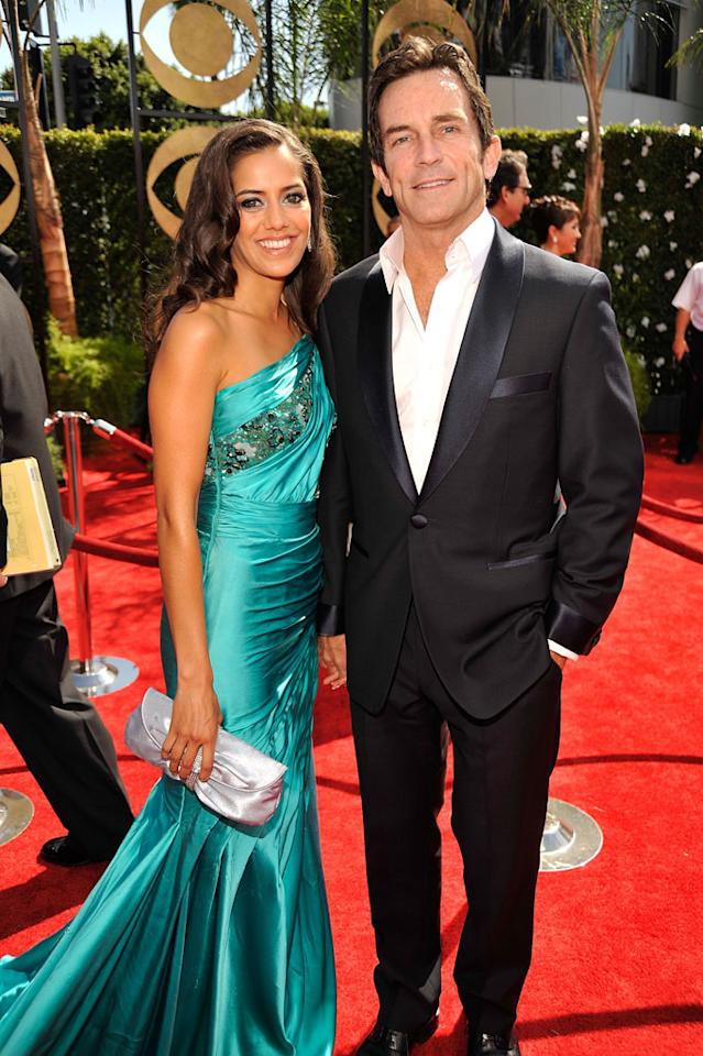 "Jeff Probst (""Survivor"") and a guest arrive at the 61st Annual Primetime Emmy Awards at the Nokia Theatre on September 20, 2009, in Los Angeles."