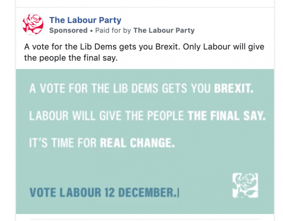 The Labour advert was shown to hundreds of thousands of voters (Facebook)