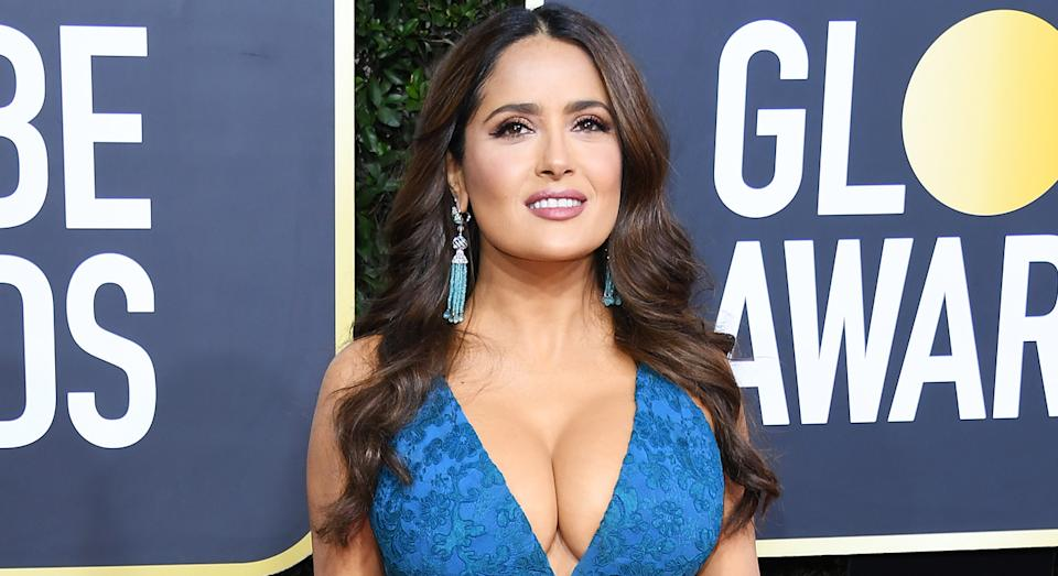 Selma Hayek's Charlotte Tilbury lipstick from the Golden Globes is now available to purchase. [Photo: Getty]