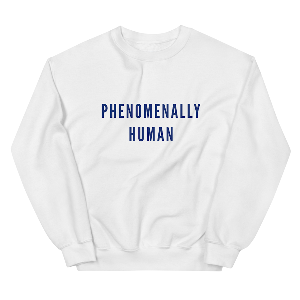 "In lieu of a heartfelt gift exchange, tell them how you really feel with this sweatshirt by Phenomenal Woman, in collaboration with This Is About Humanity, an organization dedicated to supporting separated and reunified families at the border. $55, Phenomenal Woman. <a href=""https://phenomenalwoman.us/products/phenomenal-human-sweatshirt"" rel=""nofollow noopener"" target=""_blank"" data-ylk=""slk:Get it now!"" class=""link rapid-noclick-resp"">Get it now!</a>"