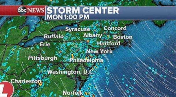 The rain will continue on Monday afternoon in the northeast. (ABC News)