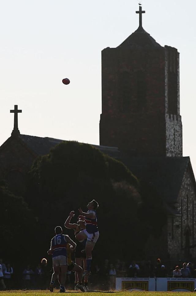 """<span class=""""element-image__caption"""">St Paul's Anglican Church provides an unusual backdrop to the football at Frankston Park.</span> <span class=""""element-image__credit"""">Photograph: Michael Dodge/Getty Images</span>"""