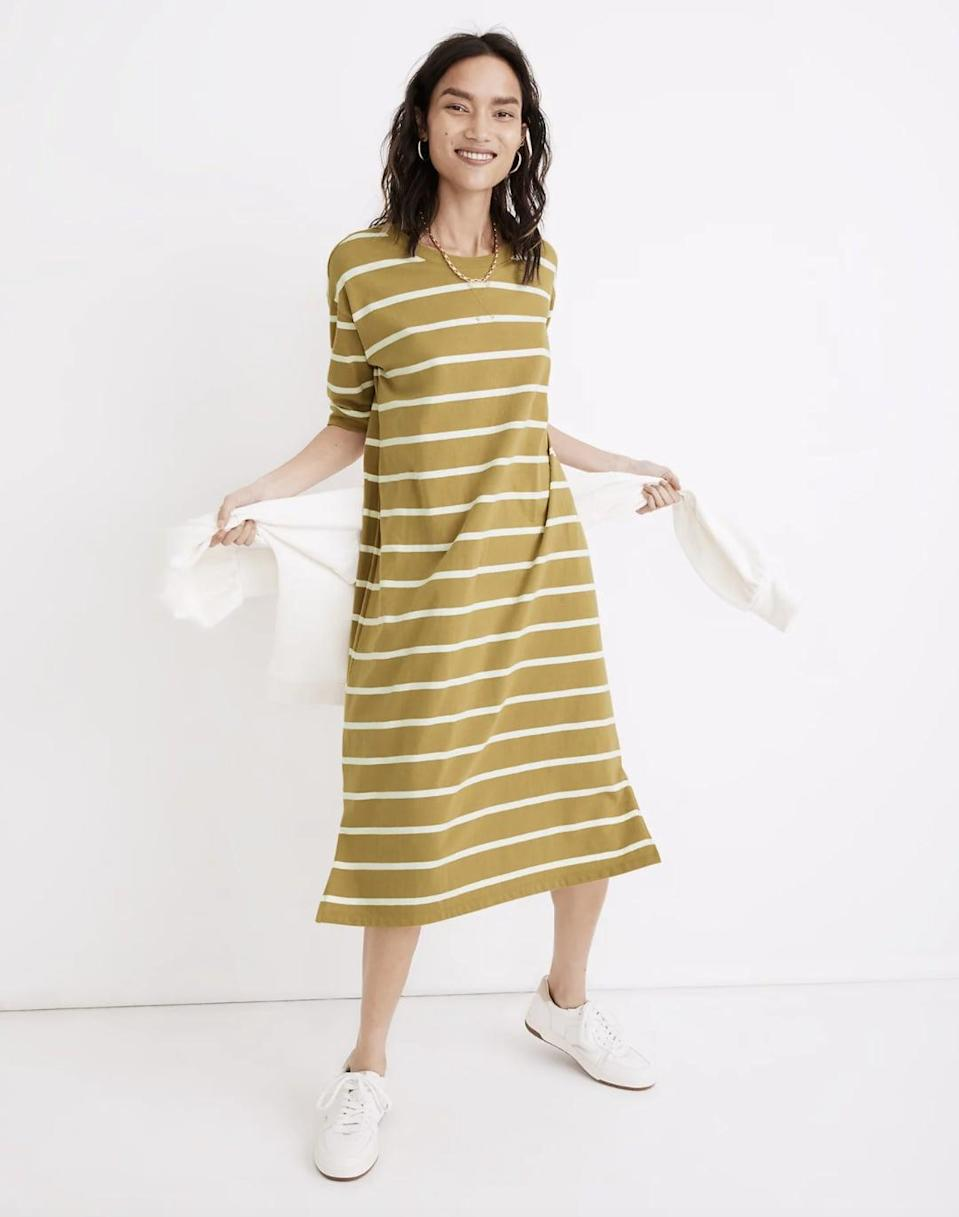 <p>Your lazy weekends in this <span>Madewell Tee Dress</span> ($65, originally $90) are waiting!</p>