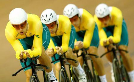 Australia's team race during 4000m team pursuit qualifying at 2014 Commonwealth Games in Chris Hoy velodrome in Glasgow, Scotland