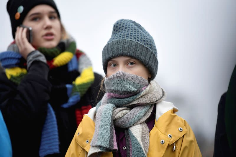 Swedish environmental activist Greta Thunberg attends a climate strike in Stockholm