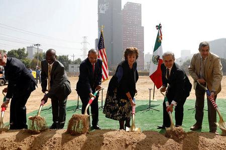 U.S. Ambassador to Mexico Roberta S. Jacobson (3rd R) and Mexico City Mayor Miguel Angel Mancera (2nd R) attend a ceremony to place the first stone of the new U.S. Embassy in Mexico City, Mexico February 13, 2018. REUTERS/Edgard Garrido