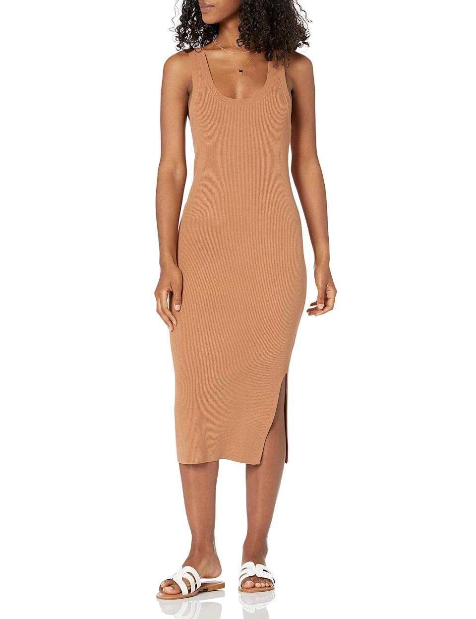 """<br><br><strong>The Drop</strong> Yasmin Rib Midi Sweater Tank Dress, $, available at <a href=""""https://amzn.to/33y9UQO"""" rel=""""nofollow noopener"""" target=""""_blank"""" data-ylk=""""slk:Amazon"""" class=""""link rapid-noclick-resp"""">Amazon</a>"""