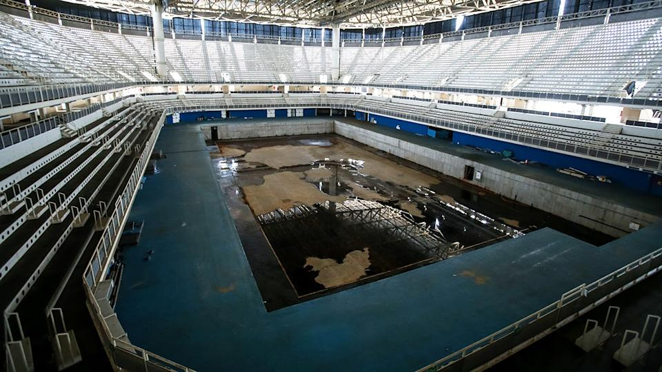 The Olympic aquatics stadium was abandoned with no obvious signs of dismantlement. (Buda Mendes/Getty Images)