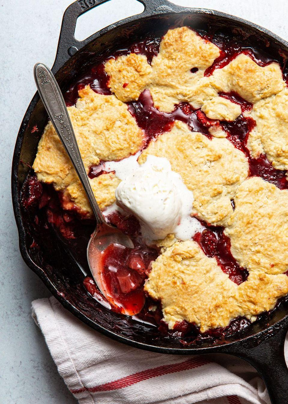 """<p>Not too sweet, and just a little saucy.</p><p>Get the recipe from <a href=""""https://www.delish.com/cooking/recipe-ideas/a32602137/strawberry-cobbler-recipe/"""" rel=""""nofollow noopener"""" target=""""_blank"""" data-ylk=""""slk:Delish"""" class=""""link rapid-noclick-resp"""">Delish</a>.</p>"""