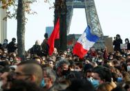 Protests in France over proposed curbs on identifying police, in Paris