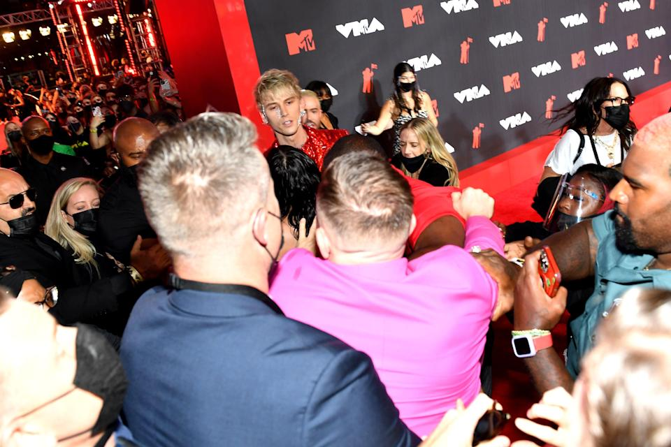 Machine Gun Kelly (center top) and Conor McGregor (center bottom) attend the 2021 MTV Video Music Awards at Barclays Center on September 12.