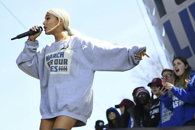 <p>Singer Ariana Grande performs during the March for Our Lives Rally in Washington, D.C. (Photo: Getty Images) </p>