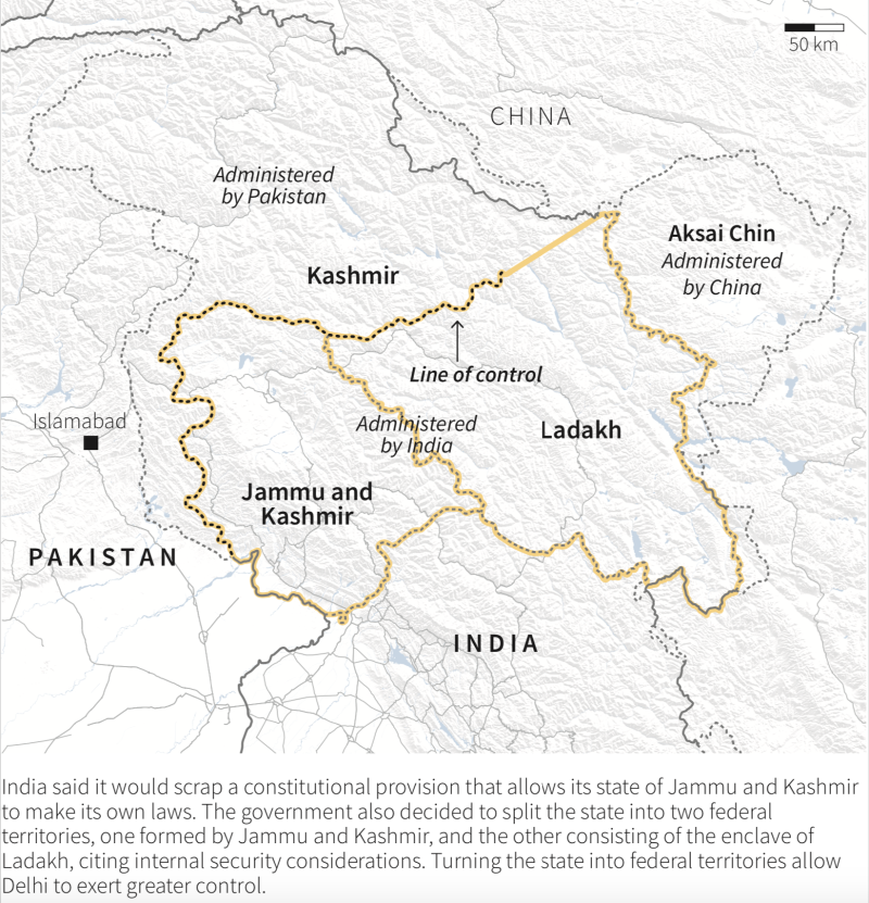 Map showing the new split state of Jammu and Kashmir, and Ladakh. (Source: Reuters)