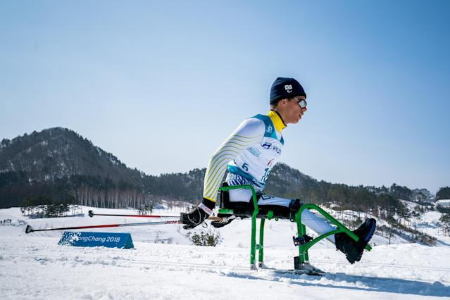 Cristian Ribera BRA competes during the Cross-Country Skiing sitting Men's 15km at the Alpensia Biathlon Center. The Paralympic Winter Games, PyeongChang, South Korea, Sunday 11th March 2018. OIS/IOC/Bob Martin/Handout via Reuters