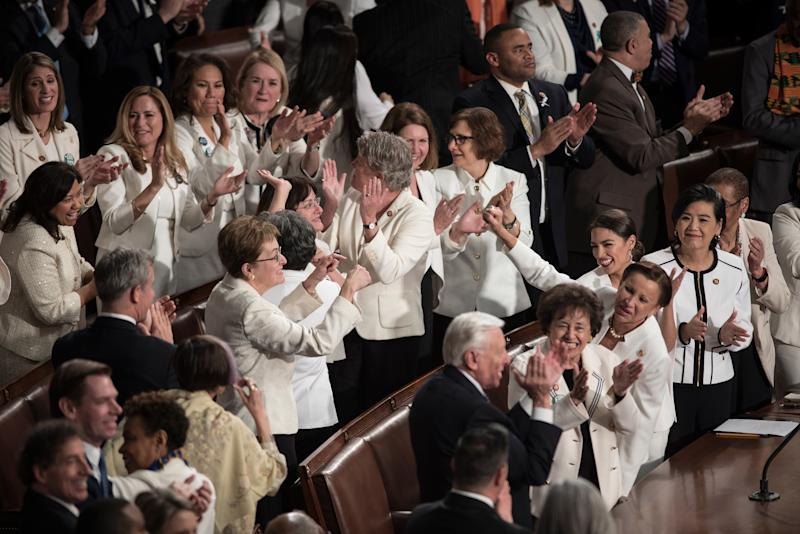 A group of House Democrats cheer as they are acknowledged by President Trump during his Feb. 5 remarks at the State of the Union.