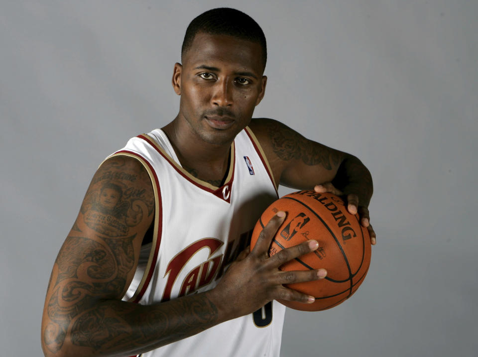 FILE - In this Sept. 29, 2008, file photo, Cleveland Cavaliers' Lorenzen Wright poses at the team's NBA basketball media day in Independence, Ohio. Shelby County Criminal Court Judge Lee Coffee, on Wednesday, June 2, 2021, set a 2022 trial date for Billy Ray Turner, charged with conspiring with the ex-wife of Wright to kill the former NBA player nearly 11 years ago in Memphis. (AP Photo/Mark Duncan, File)