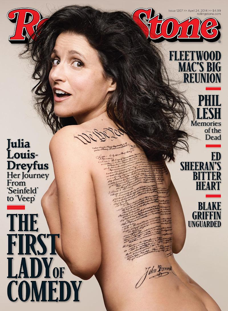 """This undated photo released by Rolling Stone shows the cover of the April 24, 2014 issue of Rolling Stone magazine featuring actress Julia Louis-Dreyfus, photographed by Mark Seliger for Rolling Stone. The cover image features the """"Veep"""" star nude with a tattoo of the U.S. Constitution signed by John Hancock across her bare back. The problem is Hancock signed the Declaration of Independence, not the Constitution. (AP Photo/Rolling Stone, Mark Seliger)"""