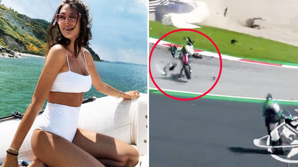 Valentino Rossi, pictured here narrowly avoiding disaster in the Austrian MotoGP.