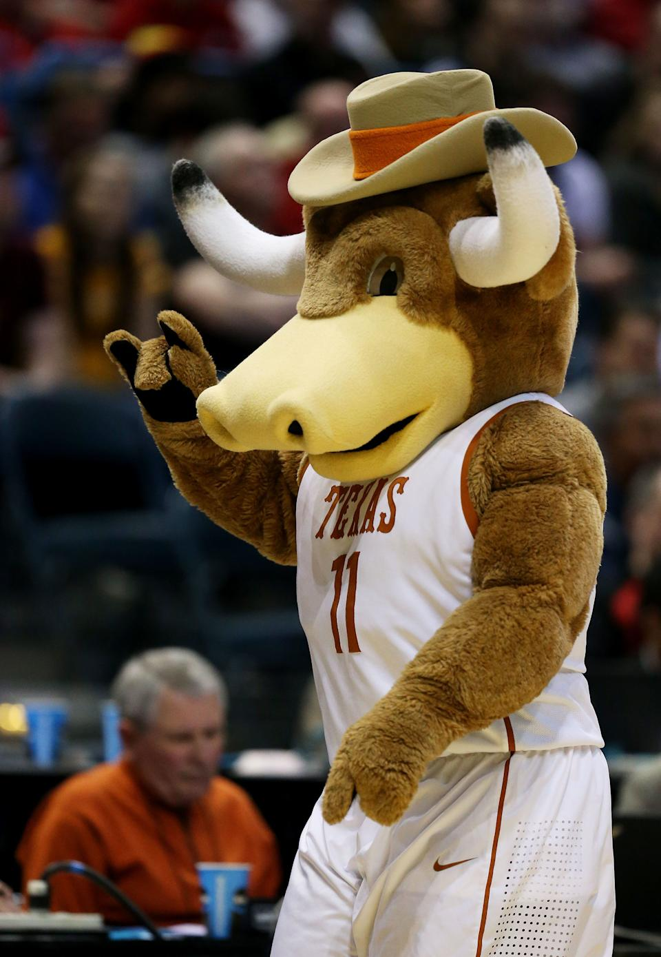 MILWAUKEE, WI - MARCH 20:  Texas Longhorns mascot Bevo looks on in the second half against the Arizona State Sun Devils during the second round of the 2014 NCAA Men's Basketball Tournament at BMO Harris Bradley Center on March 20, 2014 in Milwaukee, Wisconsin.  (Photo by Jonathan Daniel/Getty Images)